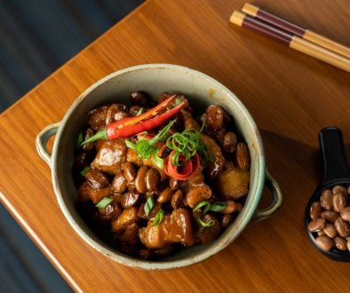 pork belly and u.s. pinto beans stewd in coconut juice and fish sauce