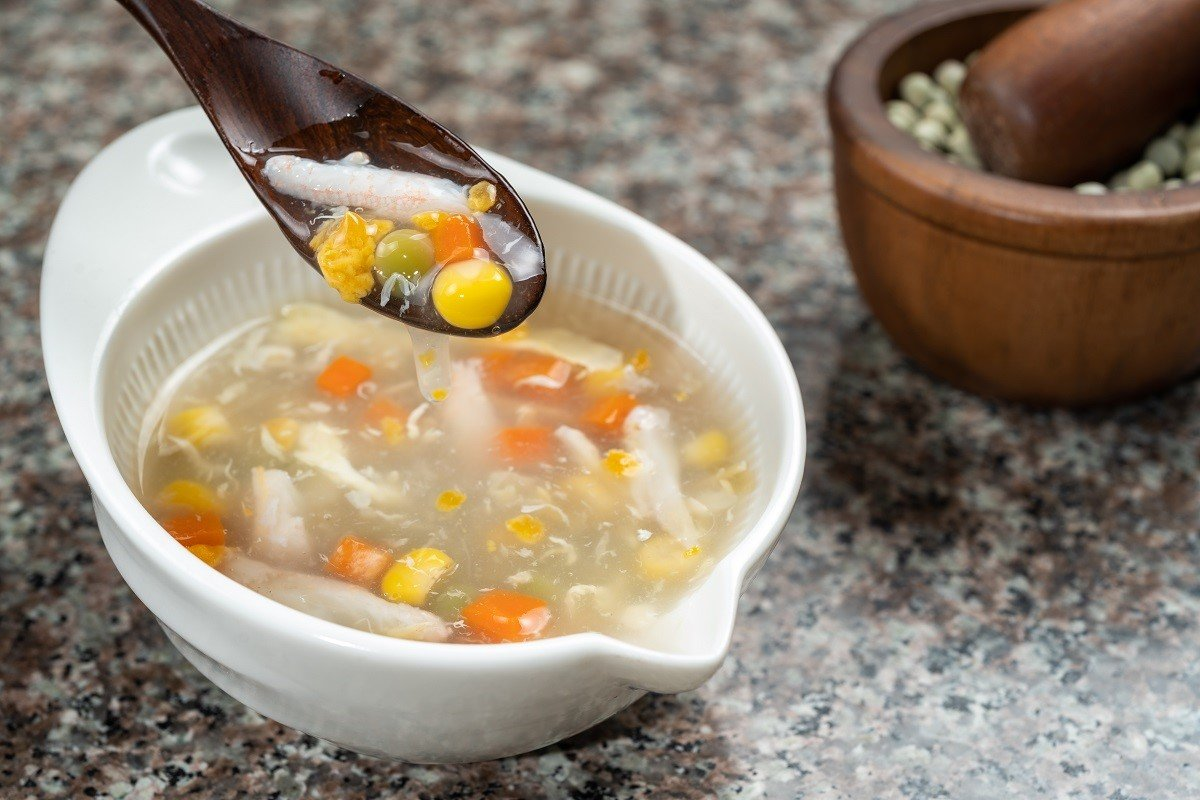 U.S. Whole Green Peas Soup with Crab Meat and Corn