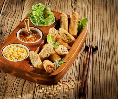 Fried Crab Rolls with U.S. Green Peas and U.S. Red Lentils