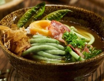 U.S. Green Pea Mazemen Topped with Bacon and Romaine and an Onsen Egg